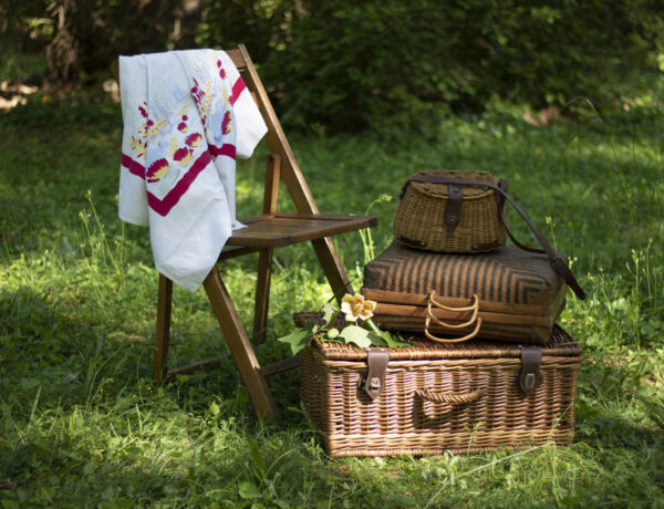 Picnic baskets in a field with a table cloth