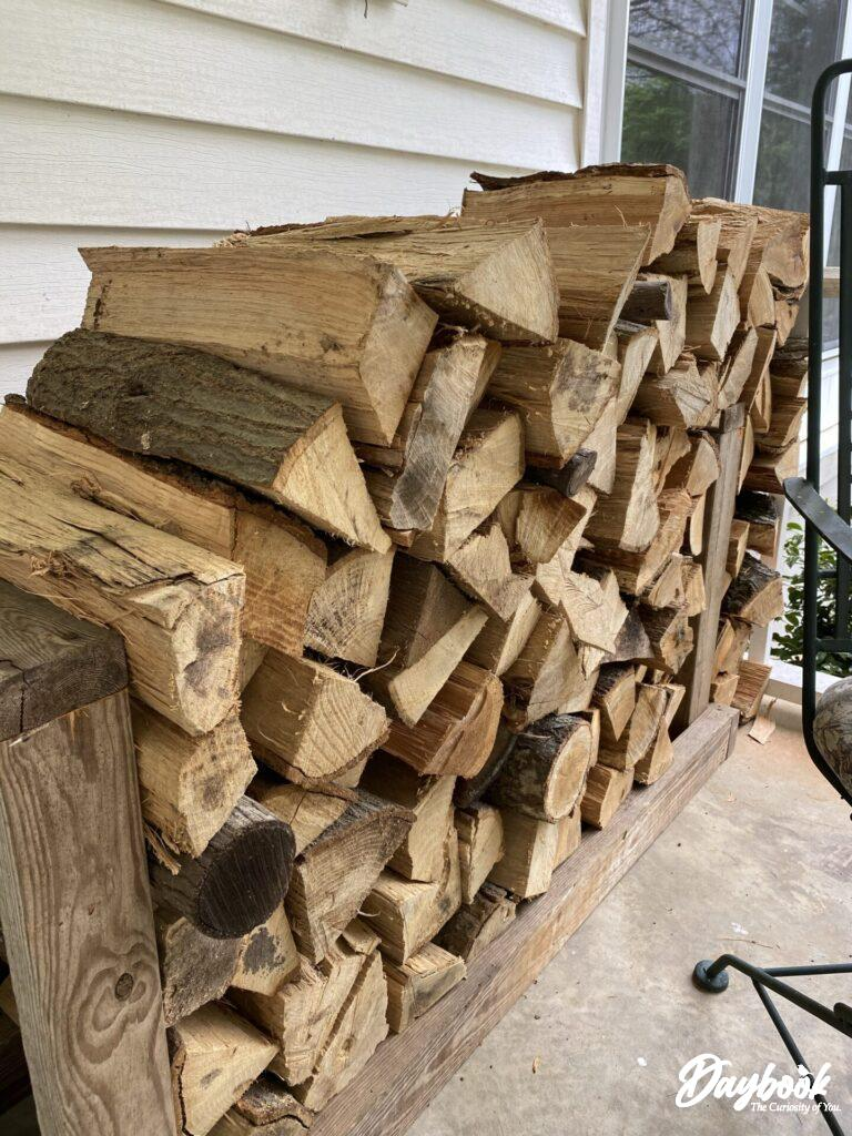 wood stacked neatly on the porch