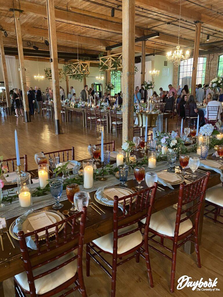 dinner table at a wedding