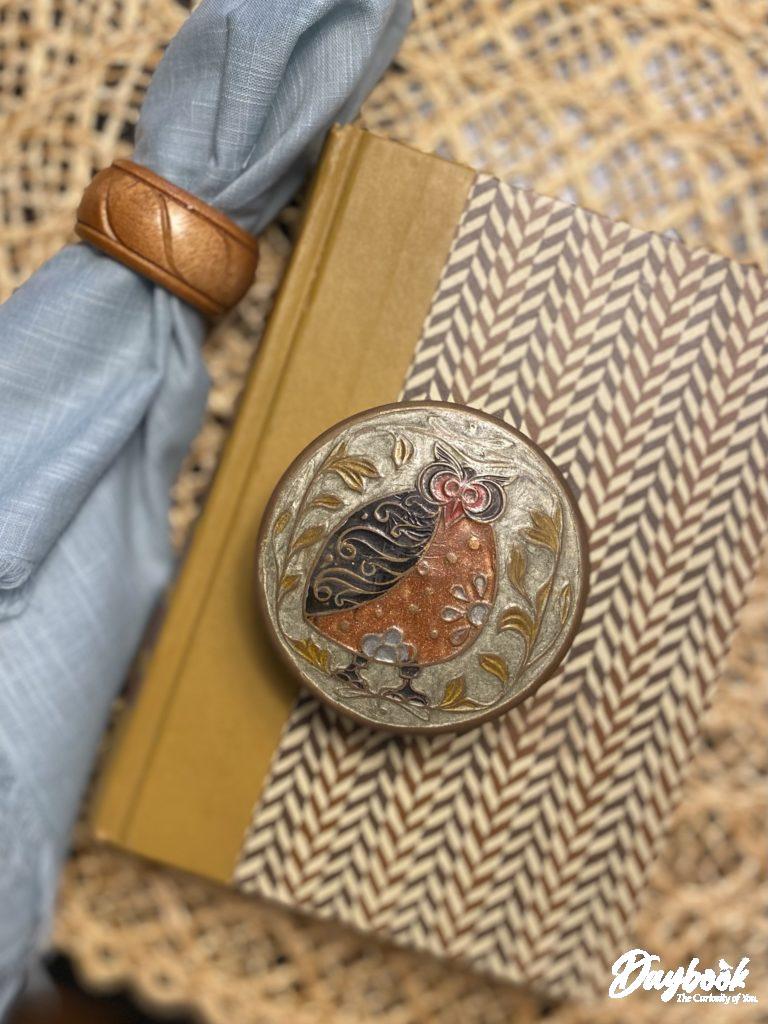 Round brass trinket box with owl