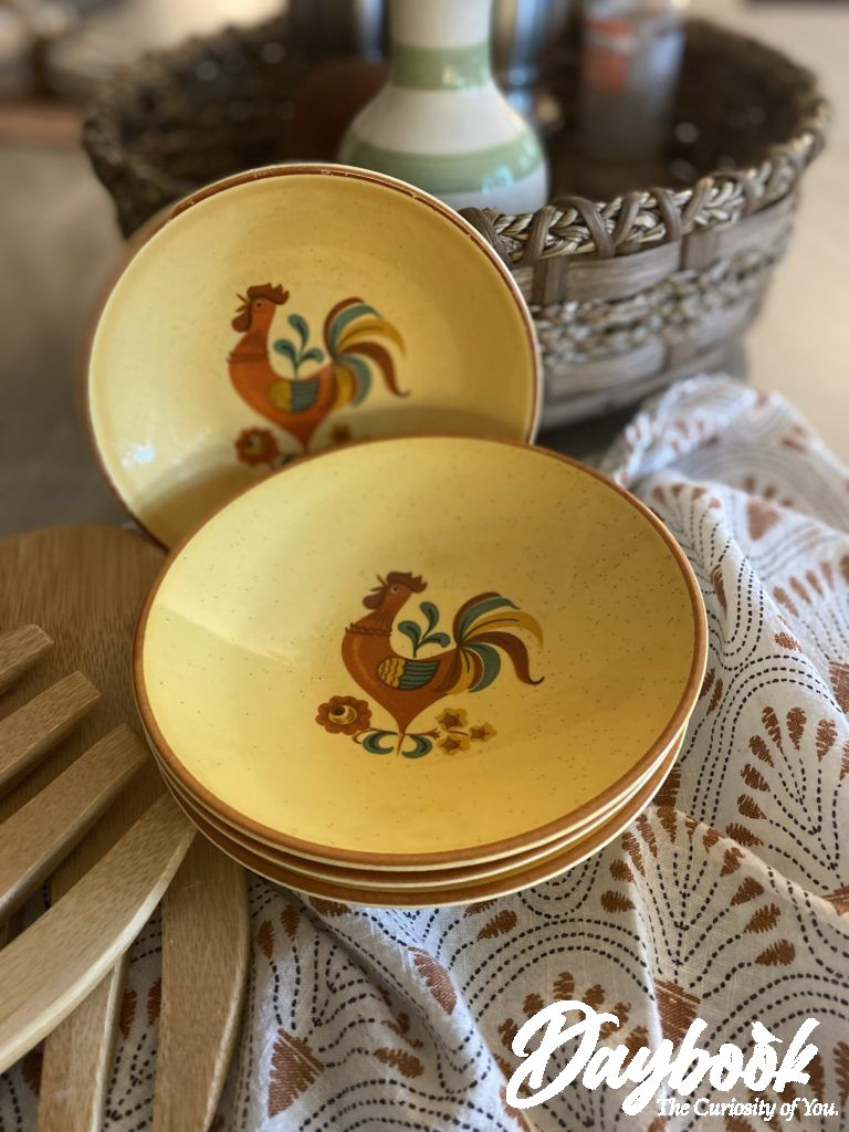 yellow bowls with rooster print