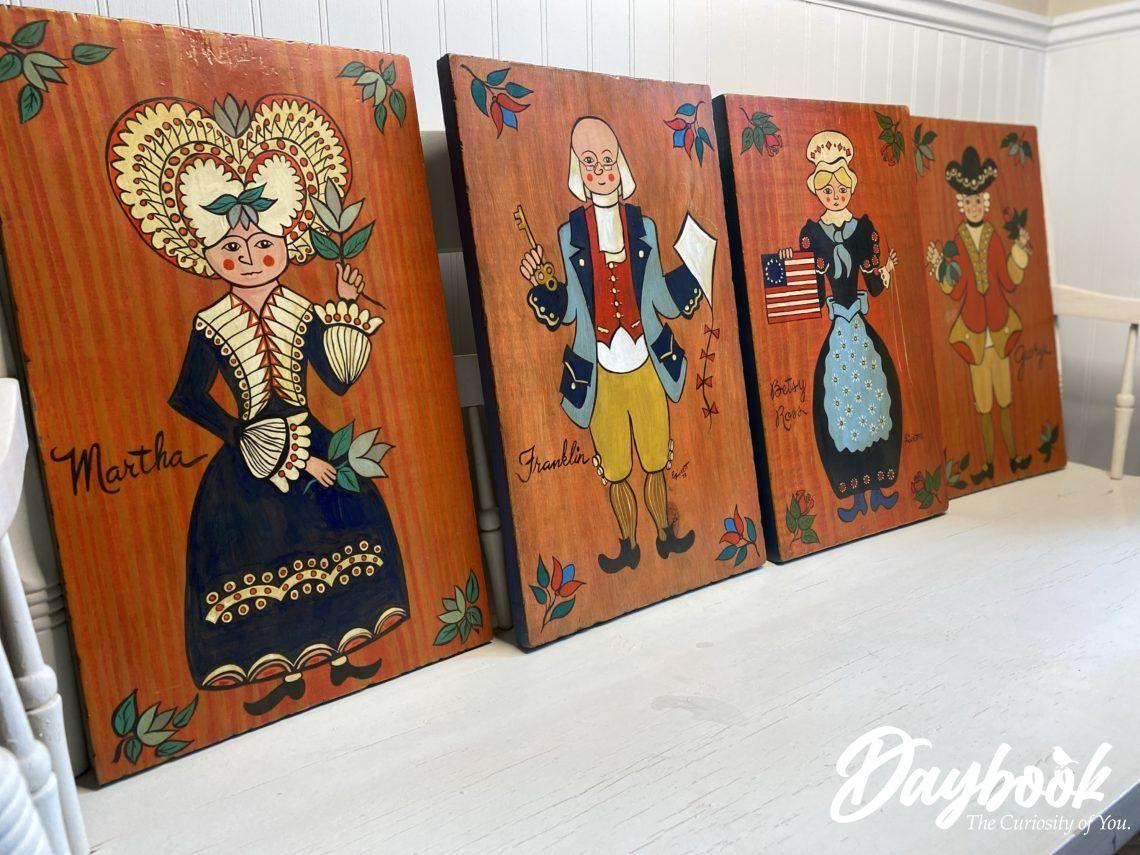 4 americana folkart paintings on wood