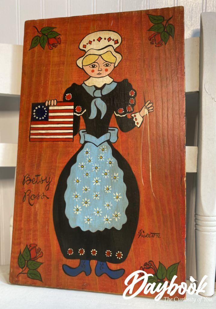 Folk art painting of Betsy Ross