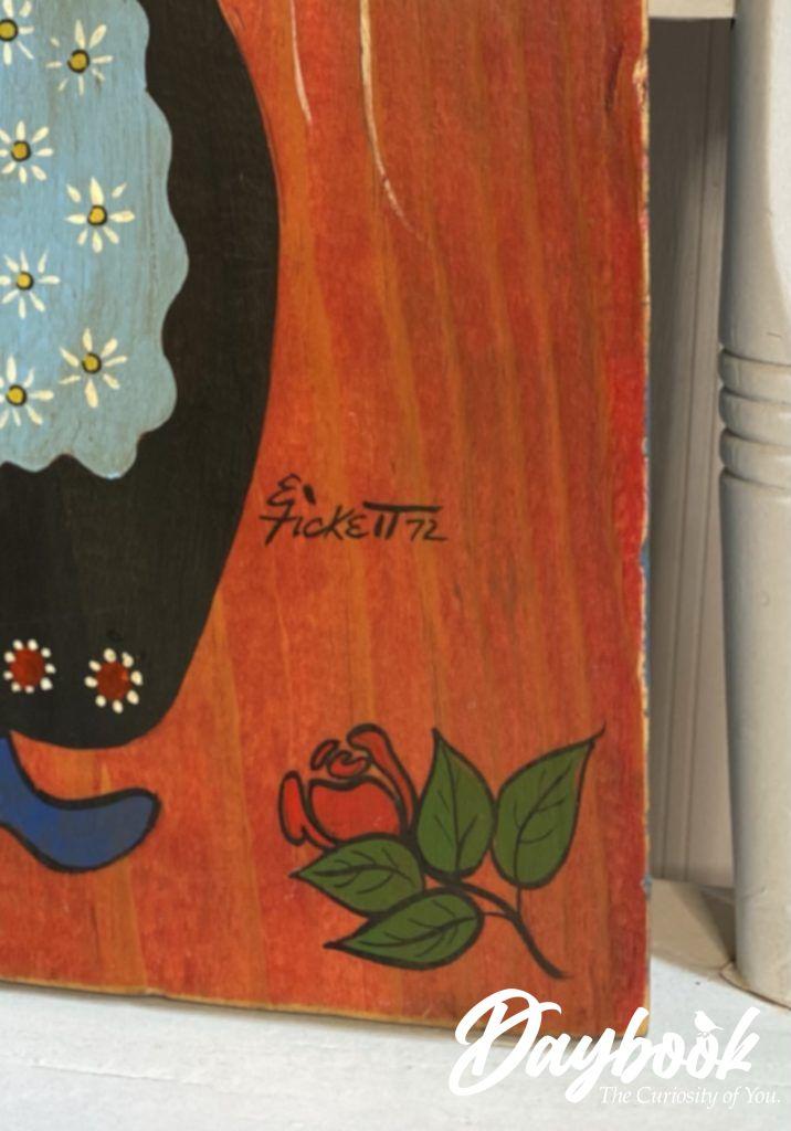 Fickett signature on front of folk art