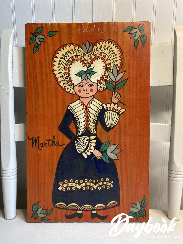 Folk art painting of Martha Washington