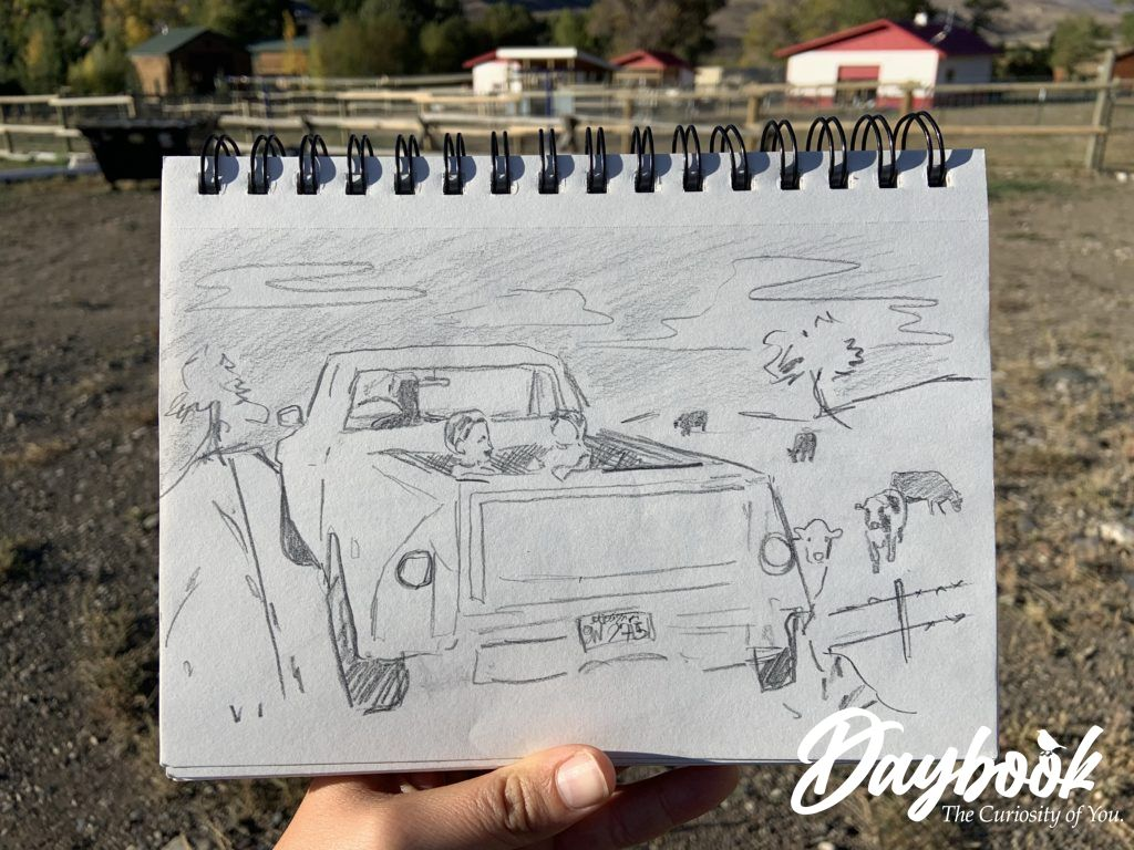pencil sketch of truck in a pasture with cows