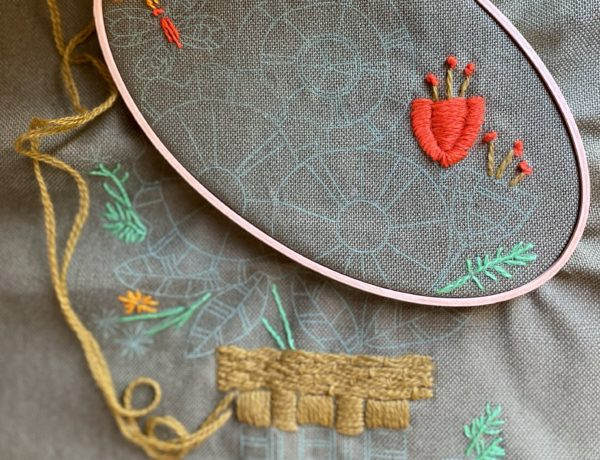 crewel embroidery piece with wooden hoop