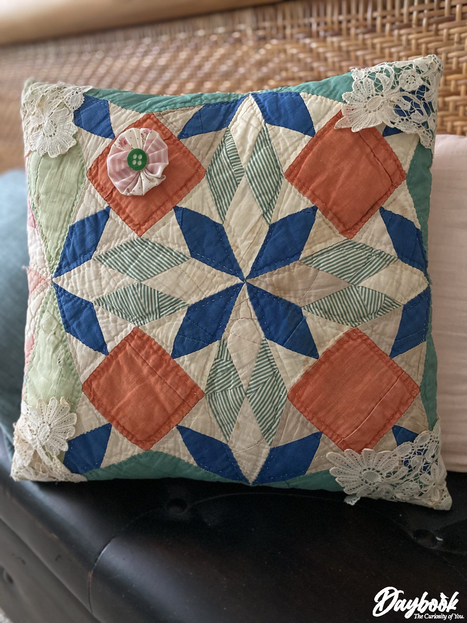 handmade quilted throw pillow