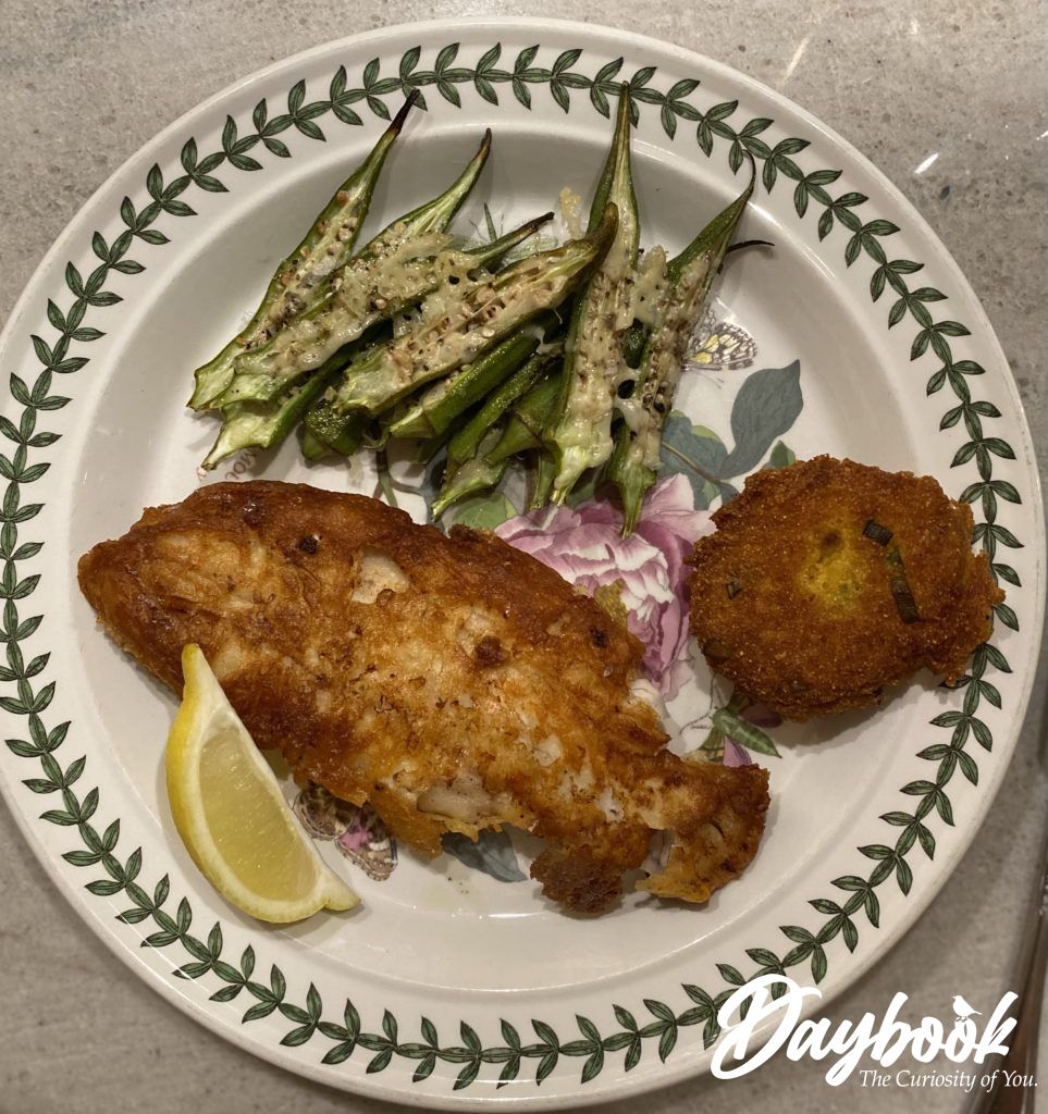roasted okra with fried fish and hushpuppy